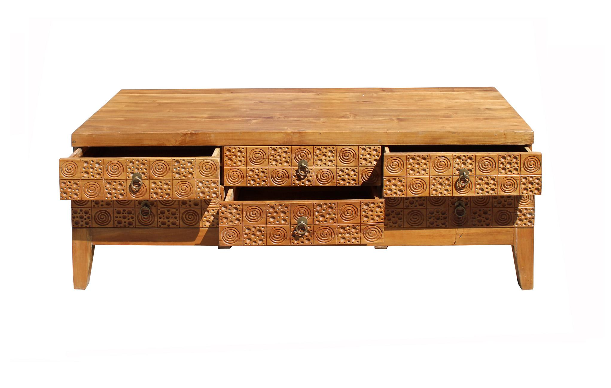 Light wood stain geometric relief carving low dresser drawers