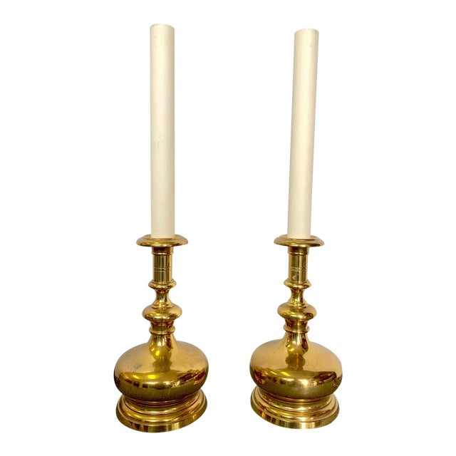 1960s Vintage Brass Bottle Lamps - a Pair For Sale