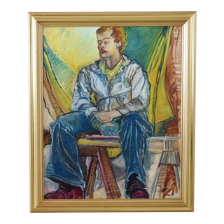 Midcentury Oil Painting Portrait Study of a Man W/Gold Frame For Sale