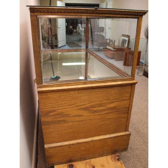 Antique Oak & Glass Mirrored Display Case - Image 6 of 11