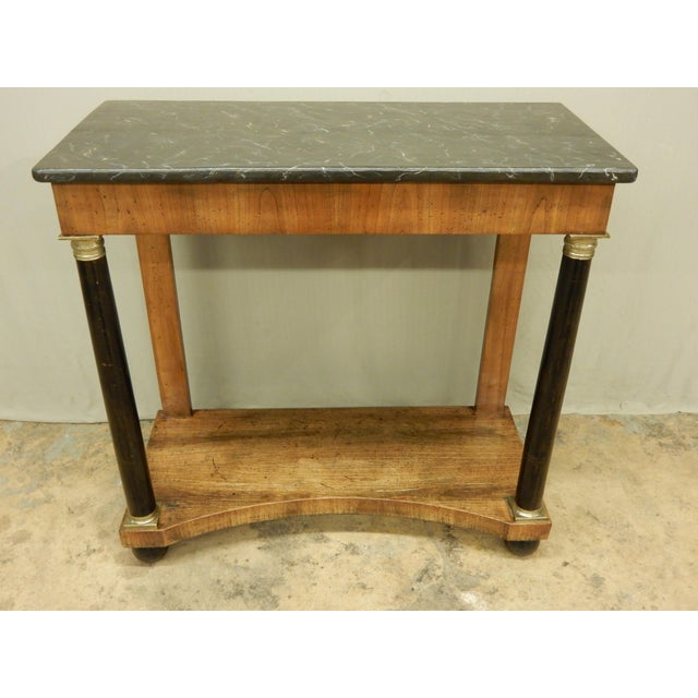 Brown Neoclassical Italian Walnut/Faux Marble Top Console For Sale - Image 8 of 8