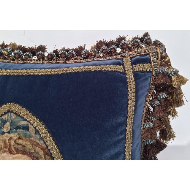Textile French Custom Blue Velvet Pillow Handmade With 18th Century Aubusson Tapestry, Trims and Tassels For Sale - Image 7 of 10