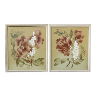 Airbrush Watercolor Paintings Framed - Set of 2 For Sale