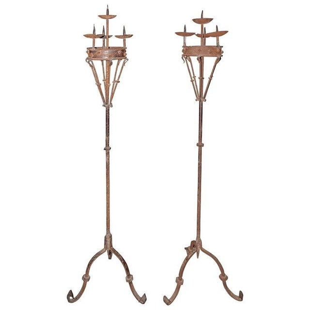 Iron Early 19th Century Spanish Forged Iron Candleholders - a Pair For Sale - Image 7 of 7