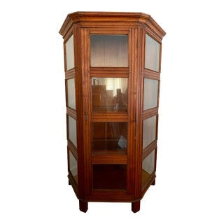 Teak Hutch Bookcase Display With Glass Shelves For Sale