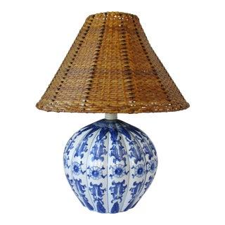 Blue & White Porcelain Table Lamp For Sale