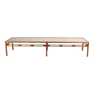 Oversized Long Rectangular Walnut Coffee Display Platform Center Table