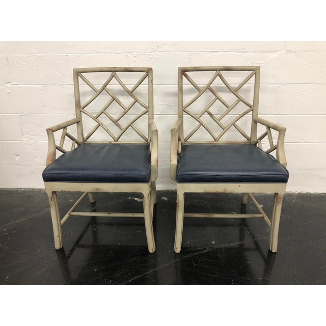 Blue 21st Century Vintage Hickory Chair Fretwork Chairs - a Pair For Sale - Image 8 of 8