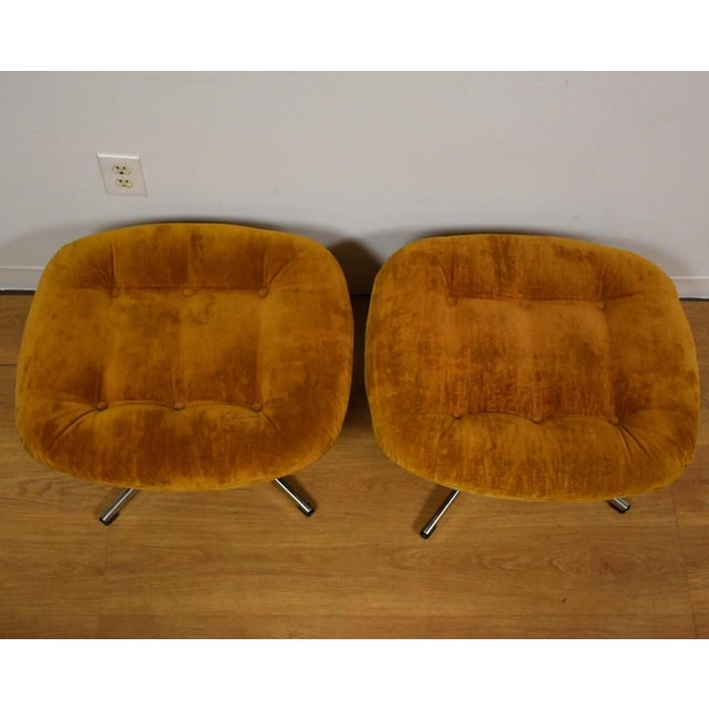 Orange Lounge Chairs & Ottomans - a Pair - Image 10 of 10
