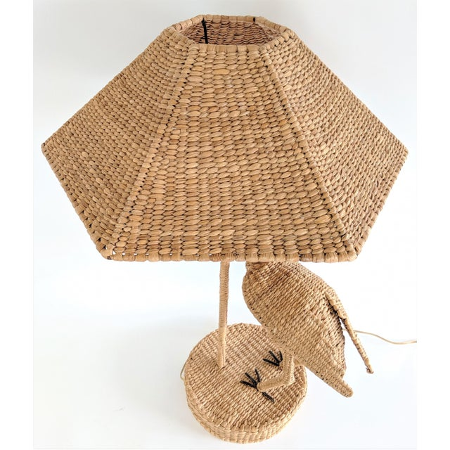1970s Mario Lopez Torres 1974 Monumental Egret Wicker Table Lamp For Sale - Image 5 of 13