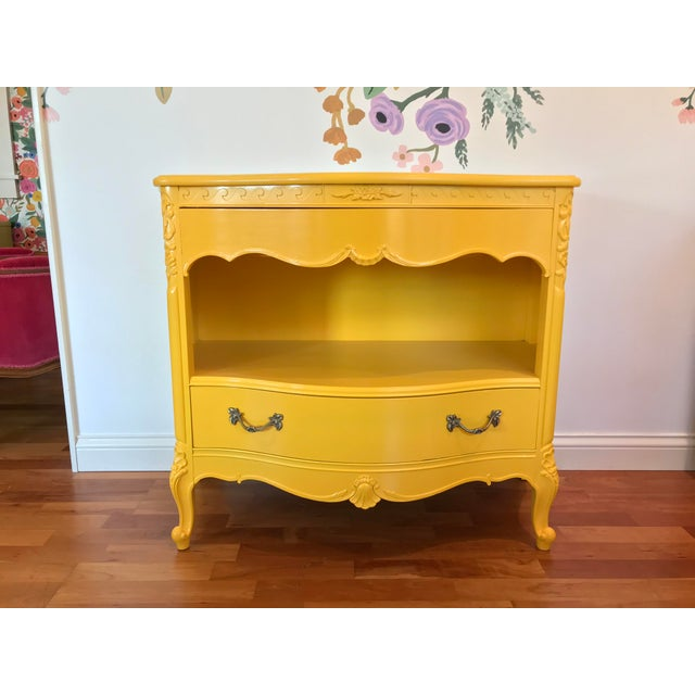 Louis XV Style Drexel Model 3211 Serpentine Front Yellow Paint Cabriole Leg Silverware Chest For Sale - Image 13 of 13