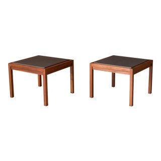 Pair of Mid Century Slate and Walnut End Tables by Jack Cartwright for Founders For Sale