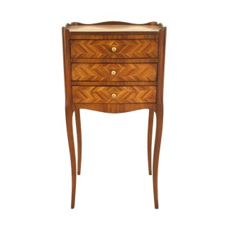 Small Turn of the Century French Louis XV Style Tulipwood Bedside Commode For Sale