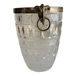 Vintage Ram Head Cut Glass Ice Bucket Vase For Sale