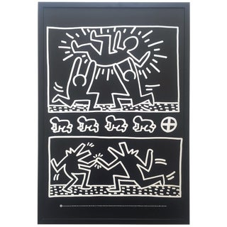 "Keith Haring Estate Rare Vintage 1990 Lithograph Print Iconic Framed Collector's Pop Art "" Poster for Tony Shafarzi Gallery "" 1982 For Sale"