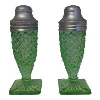 Vintage Miss America Green Salt and Pepper Shakers - a Pair