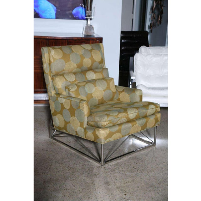 Michel Boyer Fine Pair of Michel Boyer Chrome High Back Chairs and Ottoman For Sale - Image 4 of 9