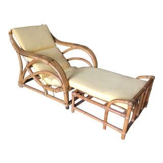 "Restored Three-Strand ""1940s Transition"" Rattan Lounge W/ Ottoman For Sale"