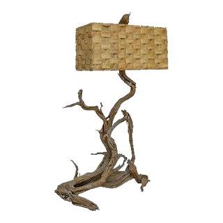 Mid-Century Large Driftwood Floor Lamp with Sabutan Dornbush Woven Shade For Sale