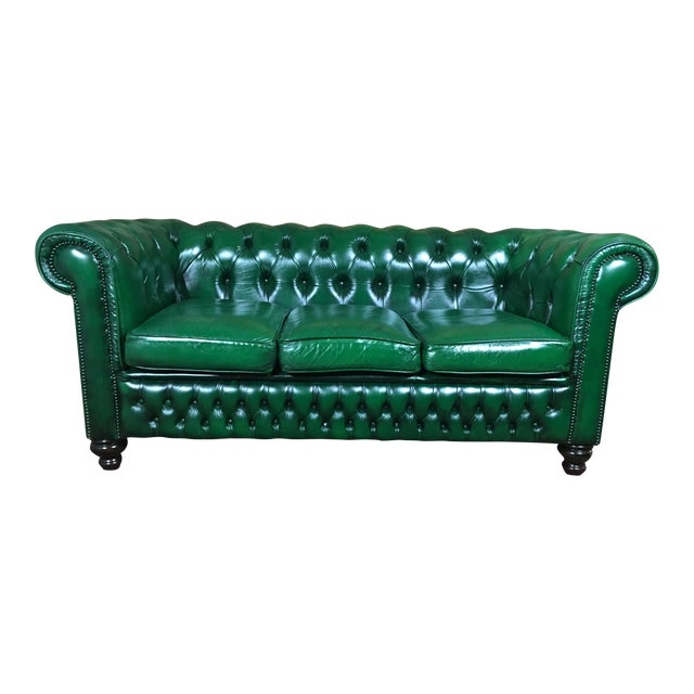 Vintage 20th Century English Traditional Green Leather Chesterfield ...