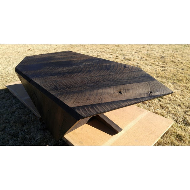 Modern Ebonized Oak Barnwood Coffee Tables - Pair For Sale - Image 6 of 11