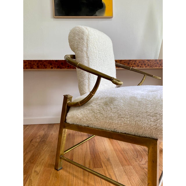 1970s Vintage Mastercraft Brass Empress Lounge Chair in Faux Shearling For Sale - Image 5 of 10