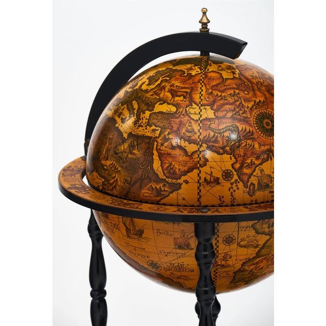 Wood Italian Vintage Globe Bar Cart For Sale - Image 7 of 10