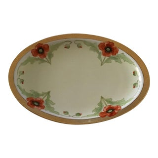 Antique Porcelain M.Z. Austria Poppies Platter For Sale