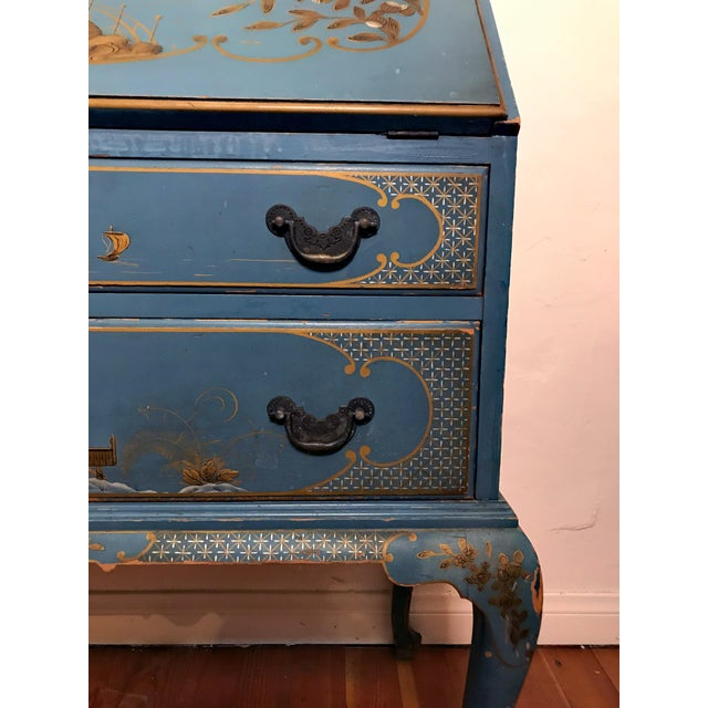 Mid 20th Century Mid Century Hand Painted Chinoiserie Blue Secretary Desk For Sale - Image 5 of 12