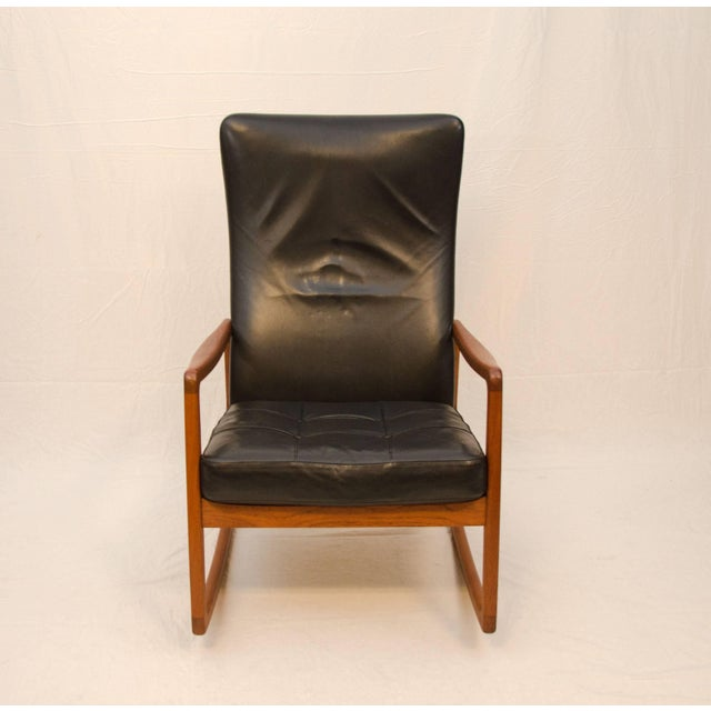 Danish Teak and Leather High Back Rocking Chair by Ole Wanscher For Sale - Image 9 of 11