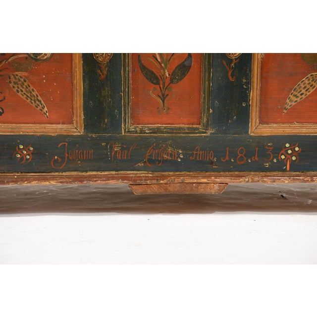 19th Century Scandinavian Polychrome Painted Trunk For Sale - Image 5 of 9