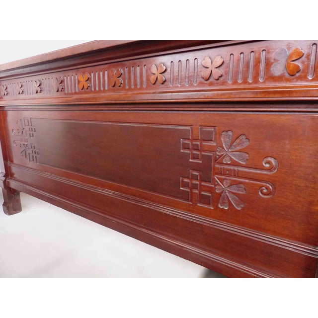 Late 19th Century Aesthetic Movement Mahogany Double Bed For Sale - Image 4 of 5