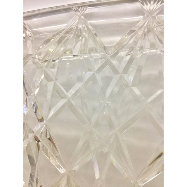 Large Vintage Clear Carved Lucite Serving Tray For Sale - Image 11 of 13