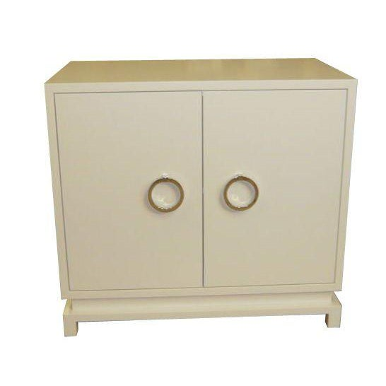 Mn Originals two-door lacquered chest with polished nickel solid brass ring pull hardware. Open interior with one...