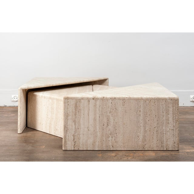 A Large Set of Eight Travertine Elements Forming One or More Coffee Tables For Sale - Image 9 of 11