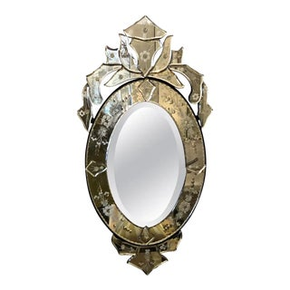 Small Glamorous Oval Venetian Mirror For Sale