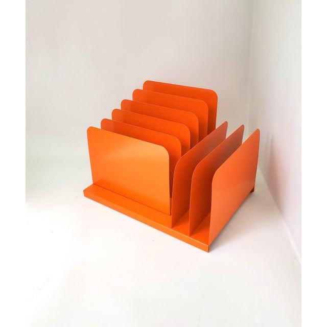 Industrial 1960s Tanker Desk Record Album Office Organizer Magazine Rack Orange Mail Sorter For Sale - Image 3 of 10