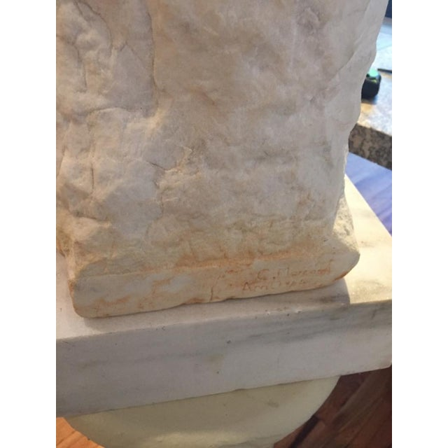 1960s Marble Carved Bust For Sale - Image 5 of 6