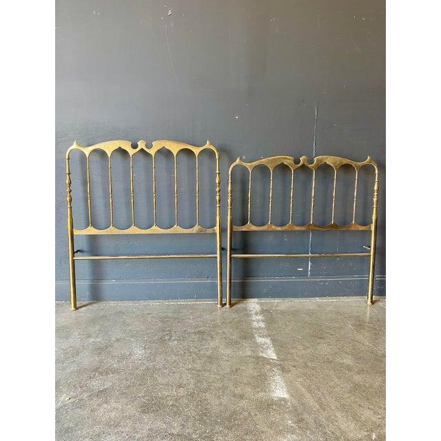 Mid Century Modern Solid Brass Chiavari Twin Headboard & Footboard For Sale - Image 9 of 9