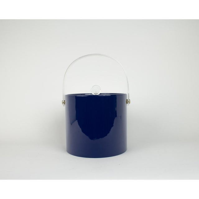 Mid Century Navy Blue and Lucite Ice Bucket - Image 10 of 10
