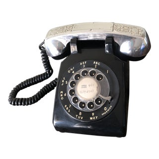 Mid Century Black Rotary Phone With Headset Cover For Sale