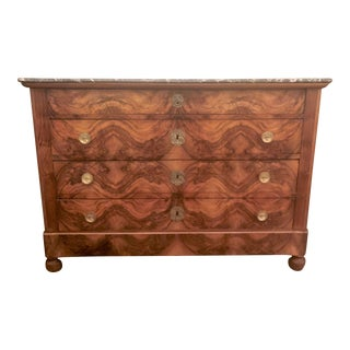 Antique 19th Century Charles X Walnut Chest With Marble Top.
