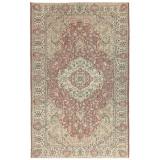 Vintage Distressed Turkish Carpet in Rose, Cream, and Celedan | 5'8 X 9'2 For Sale