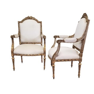 C. 1910 French LXIV Style Pair of Arm Chairs For Sale