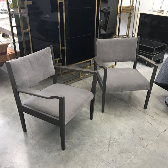 This is a 1950 pair of New velvet upholstery in dark gray stain on walnut frames armchairs by Jens Risom in good vintage...