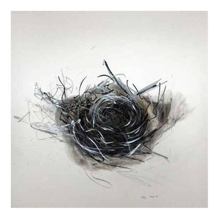 "Wayne Zebzda ""Nest 1"" Carbon Smoke Drawing on Paper, Framed For Sale"