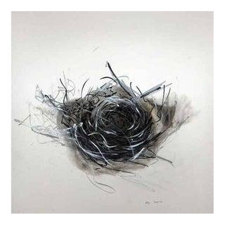 """Wayne Zebzda """"Nest 1"""" Carbon Smoke Drawing on Paper, Framed For Sale"""