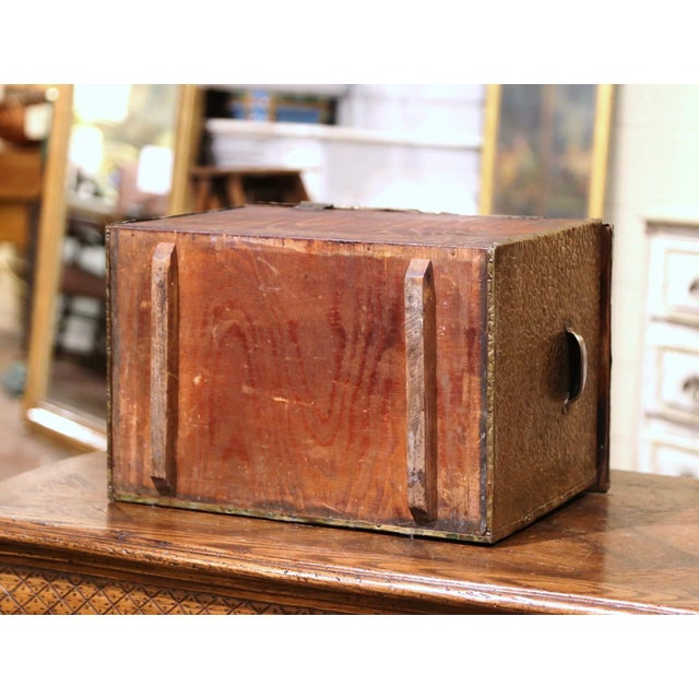 19th Century French Repousse Brass and Wood Box With Sailboat Decor For Sale - Image 9 of 10