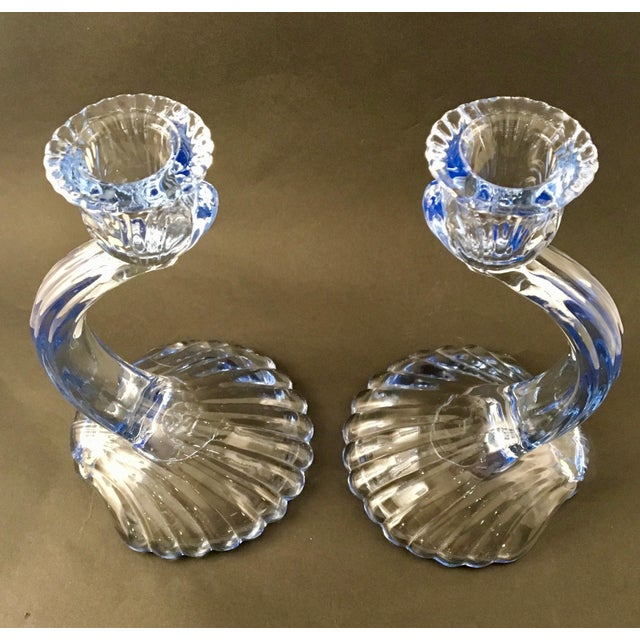 Cambridge Glass Company Mid-Century Cambridge Caprice Glass Candlesticks- A Pair For Sale - Image 4 of 8