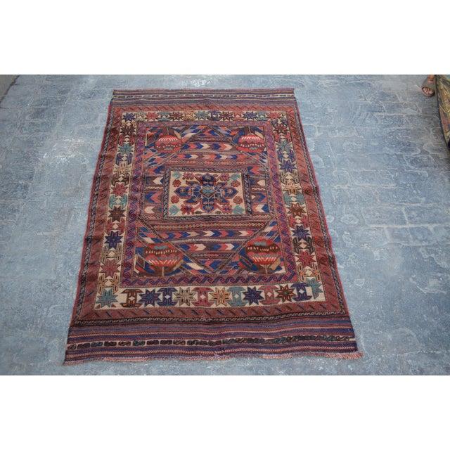 2000s Tribal Afghan Burjesta Kilim Rug - 4′4″ × 6′1″ For Sale - Image 5 of 5